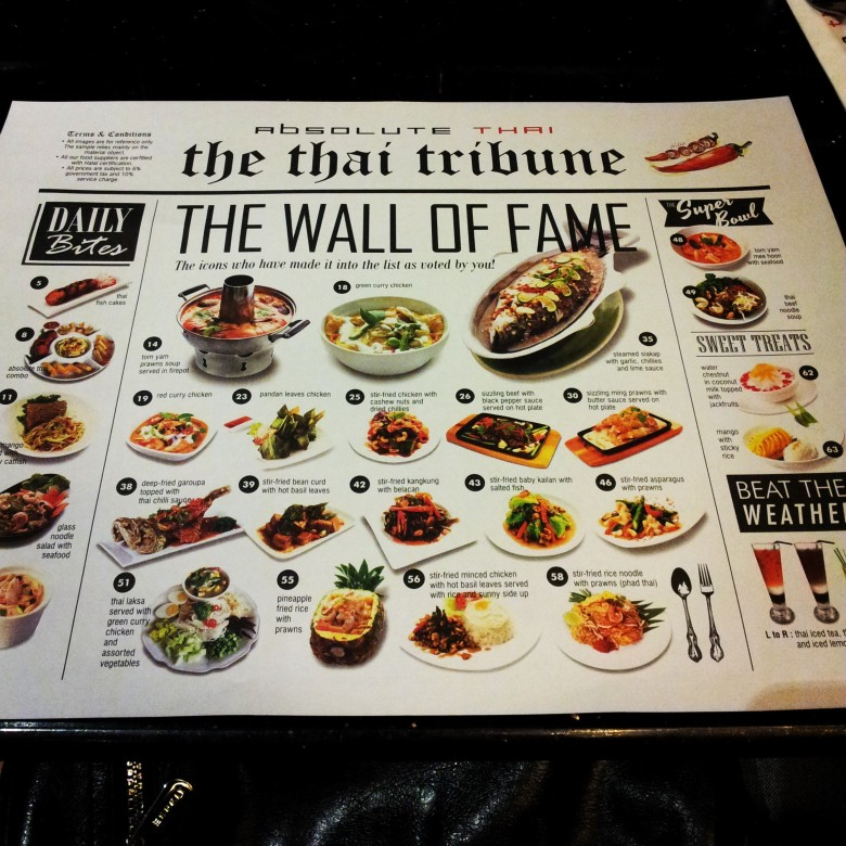 Absolute Thai menu