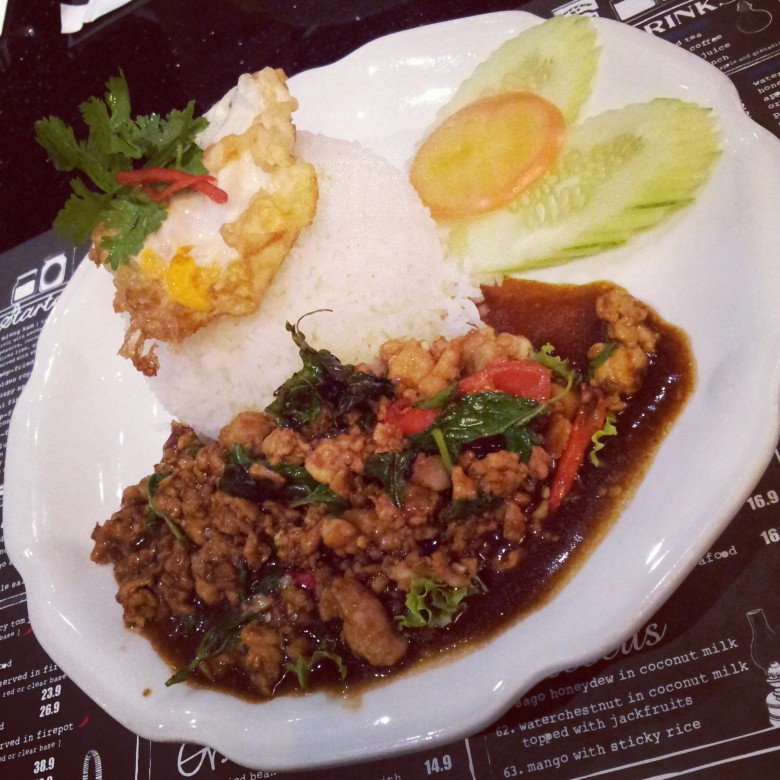 Stir-fried minced chicken with basil leaves @ Absolute Thai